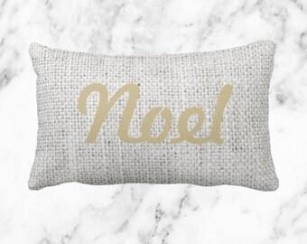 Burlap 'Noel' Pillow  // Holiday Decor Throw Pillow