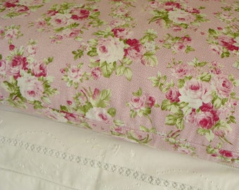 Lovely Pink Floral Vintage Style Bedroom Pillow Shams Cases In Pure Cotton Fabric