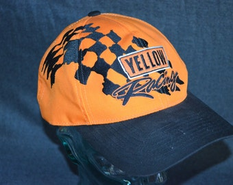Retro Yellow Racing NASCAR Adjustable Baseball Cap Hat (One Size Fits All)