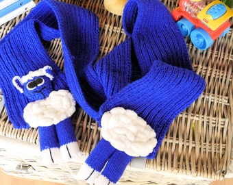 Handmade Child's Blue Lamb Scarf - Free Shipping