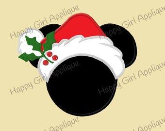 Mrs Mouse Santa Hat Applique