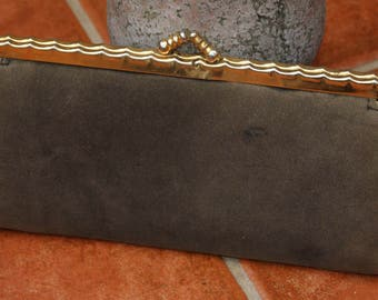 Vintage Suede Clutch Bag 1950's