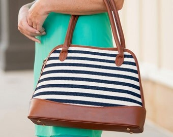 Monogram Purse Striped Monogrammed Purse Personalized Purse Monogrammed gifts for her Navy Striped Large Purse Bridesmaid Gifts