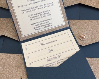 Glitter | Pocketfold | Pearl | Diamante | Personalised Wedding Invitation