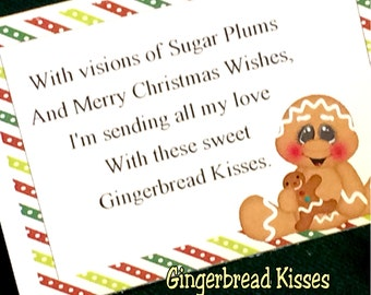 Gingerbread Kisses Candy Bag Topper Printable