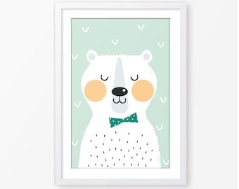 Kids poster,animal kids poster,nursery decor,baby poster,baby room decor,Scandinavian style,bear illustration ,digital file,modern poster