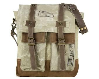 Sunsa Messenger bag cross body shoulder bag canvas bag with leather Artno.: 51782