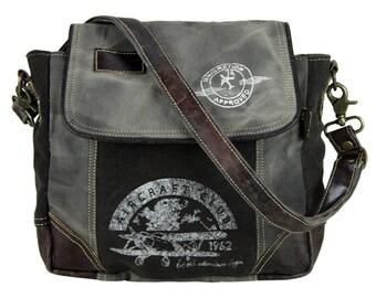 Sunsa Messenger bag cross body shoulder bag canvas bag with leather Artno.: 51769
