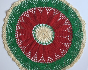 Large Vintage Red Green Crochet Christmas Doily 18""