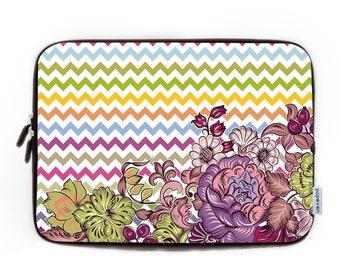 Colourful Chevron Laptop Sleeve 15.6,Laptop Bag,Laptop Sleeve,Neoprene Macbook Air 13 case,Macbook Sleeve 15,Personalized Floral Chevron Bag