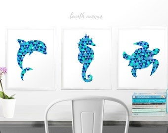DIGITAL //  Sea Creatures Geometric Triangle Blue Green Purple Pattern // Change to Any Color Wall Art // Set of 3 // #55487D