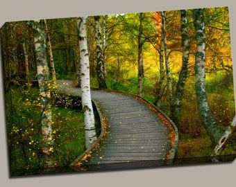 Walkway in Woods Gallery Wrap Canvas Photo Print Fine Wall Art, Pathway Foot Bridge Wooden White Birch Tree Fall Autumn Leaves Nature Trail