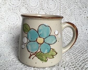 1970's Stoneware Blue Flower Mug