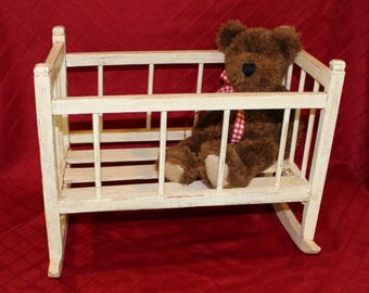 Vintage Wood Doll Cradle, Doll Bed, Doll Crib, Gift for Girl Child, Gift for Her