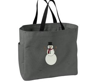 Snowman Tote Bag. Embroidered Holiday Snowman Tote. Cute Christmas Tote Bag. Snowman. SM-B0750
