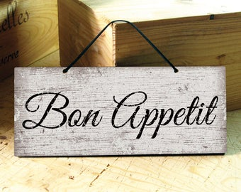 Kitchen Signs In Brown White Bon Appetit Sign Rustic Kitchen Decor Restaurant