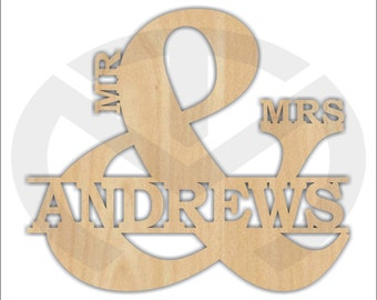 Unfinished Wood Mr & Mrs Laser Cut Shape with Your Last Name, Various Sizes, Initials, Home Decor, Wedding Gift, Door Hanger, Ready to paint