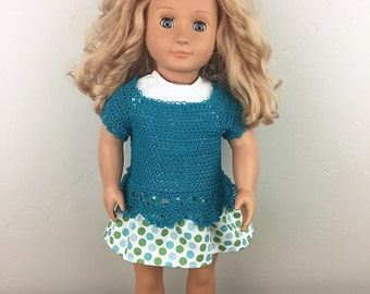 18 inch doll outfit, American Girl, My Life, Generations, skirt, crochet top, doll,