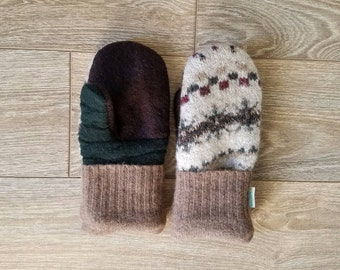 White and Green Sweater Mittens //LoveWoolies Mittens //Fleece Lined
