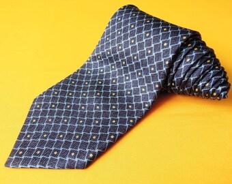 Bvlgari Tie Woven Silk Geometric Shapes Repeat Pattern Blue Vintage Designer Dress Davide Pizzigoni Necktie Made In Italy