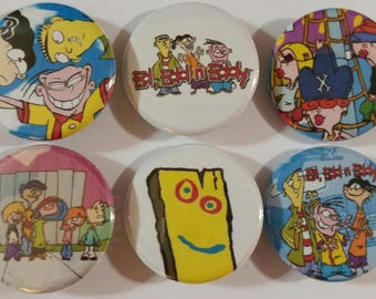 Ed, Edd, 'n Eddy Badge Button Pin Set of 6