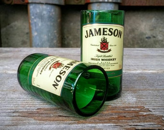 Whiskey Bottle Replica Shot Glasses -  Set of Two - Recycled Jameson