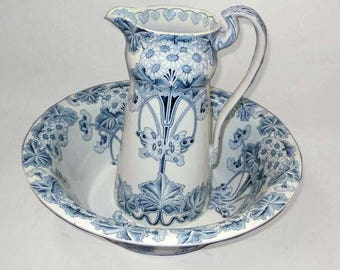 Impressive Huge English Stafforshire Botanical Blue Stella Porcelain Wash Basin Pitcher Gramwade England 424408