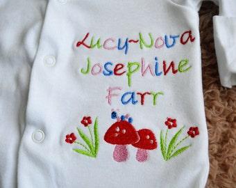 Custom Personalised Toadstool & Catapilla Baby Sleepsuit