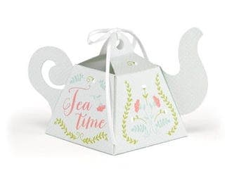 Tea Time Tea Party Favor Boxes (Pack of 12) Bridal Shower