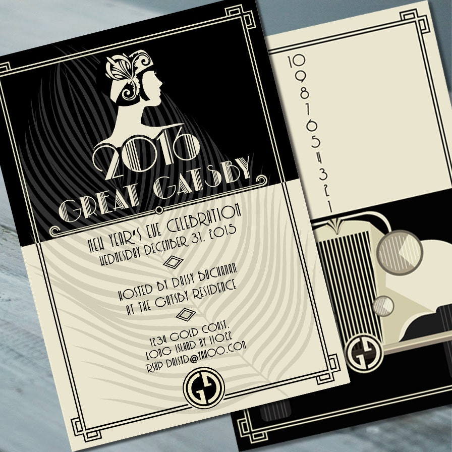 Great Gatsby Invitation, birthday invitation, party invitation ...