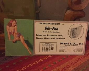 Vintage Earl Moran Pin Up Girl Advertising  Calendar from August 1955 blo-fan pyrne heating company
