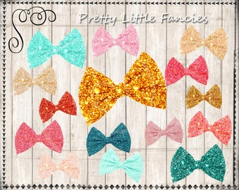 14 Sparkly Bows Digital Clipart Glitter Elements Digital Graphics Bow Tie