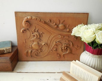 Beautiful antique French carved wooden panel