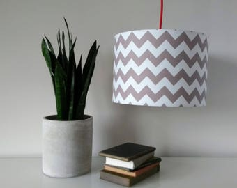 Hand Rolled Drum Lampshade made from gorgeous Riley Blake zig zag chevron grey & white cotton fabric. Ceiling Shade, Table Lampshade