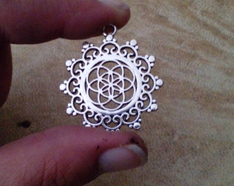 Seed of life mandala pendant. Silver plated flower of life pendant. Sacred geometry pendant.