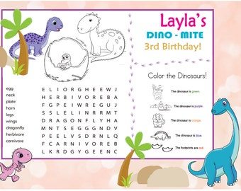 Dino Party Placemat - Dino-mite Birthday - Girl's Party - Pink Dinosaur - Games & Decoration - CUSTOMIZE