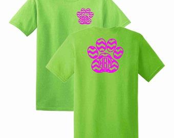 Dog Paw Chevron Monogrammed T-shirt