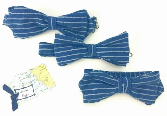 marineblaue bowtie f r hochzeit trauzeugen leinen von. Black Bedroom Furniture Sets. Home Design Ideas