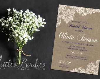 Burlap and Lace Wedding Shower Invitation 002