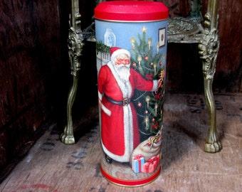 Christmas Tin, English Vintage Tin, Biscuit Tin, Decorative Tin, Vintage Tin, English Tin, Christmas Storage, Christmas Decoration