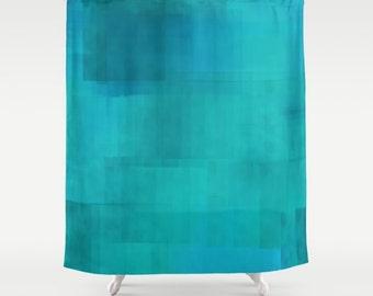 """Shower Curtain - 'Turquoise' - 71""""x74"""" Custom, Home, Bathroom, Bath, Dorm, Girl, Christmas, Decor, Blue, Teal, Texture, Kids, Gift, Abstract"""