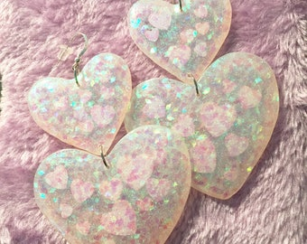 Large Sweet Heart Earrings - Iridescent Magic Hearts