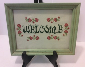 """Vintage Needlepoint Art, Framed Art, """"Welcome"""", Home Decor, Housewarming Gift, Wall Hanging, Shabby Chic Handmade Art, Country  Kitchen"""