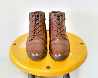 Alpine Woods Brown Ankle Booties Lace Up Boots Size 7.5
