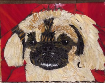 Custom dog portrait, pekingese art, Pet memorial, Unique pet memorial, mosaic pet portrait, gift for pet lover, pet loss, dog lover gift