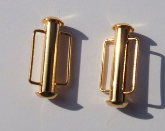 Gold Tube Clasp with Bar , 21.5 MM or 1 Inch Long Clasp with Bar, Package of 2