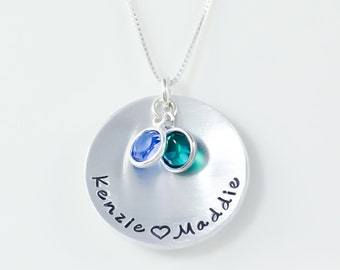 Mothers hand stamped necklace, hand stamped personalized necklace, mothers jewelry