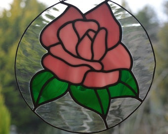 Pink Rose Stained Glass Suncatcher