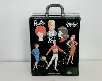 vintage barbie ken and midge case, barbie case, black vinyl case, barbie doll case, ken barbie and midge, 1964 barbie wardrobe, doll trunk