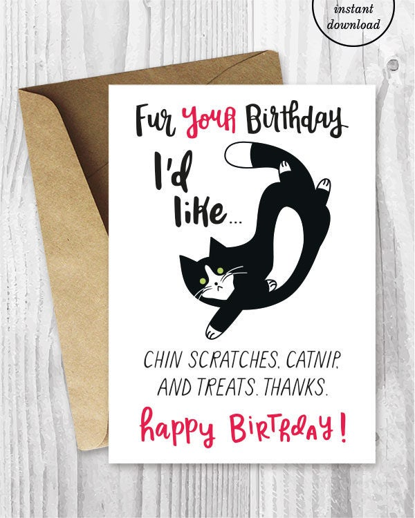 Funny Cat Birthday Cards Instant Download Funny Tuxedo Cat